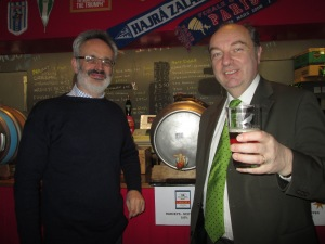 Norman Baker MP and Johnny Marshall, Lewes FC's Manager of the 'Rook Inn' and owner of the Gardeners Arms in Lewes.