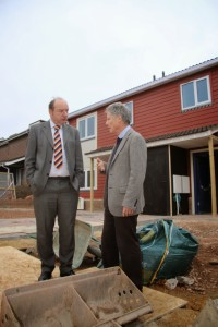 Norman Baker MP with Cllr John Stockdale visiting the new homes in Lewes
